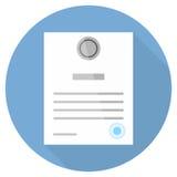 Certificado em um estilo liso com círculo longo da sombra Imagens de Stock