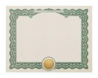 Certificado en blanco foto de archivo