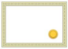 Certificado en blanco Fotos de archivo