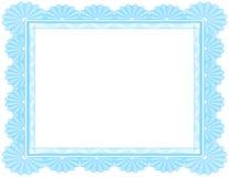 Certificado en blanco adornado en azul Imagen de archivo libre de regalías