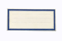 Certificado en blanco con la frontera azul Foto de archivo libre de regalías