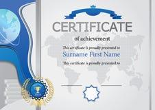 Certificado gris Elementos, mapa y globo azules Fotos de archivo libres de regalías