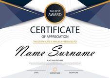 Certificado horizontal da elegância azul com ilustração do vetor, molde branco do certificado do quadro com teste padrão limpo e  Foto de Stock
