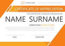 Certificado horizontal de la elegancia anaranjada con el ejemplo del vector, plantilla blanca del certificado del marco con el mo ilustración del vector