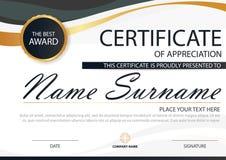 Certificado horizontal de la elegancia con el ejemplo del vector, plantilla blanca del certificado del marco con limpio y moderno libre illustration