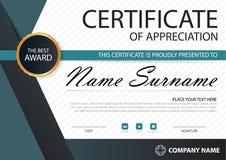 Certificado horizontal de la elegancia del negro azul con el ejemplo del vector, plantilla blanca del certificado del marco con l libre illustration