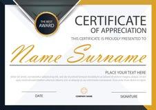 Certificado horizontal de la elegancia negra amarilla con el ejemplo del vector, plantilla blanca del certificado del marco con l stock de ilustración