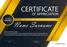 Certificado horizontal de la elegancia negra del oro con el ejemplo del vector, plantilla blanca del certificado del marco con li ilustración del vector
