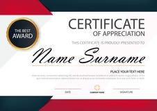 Certificado horizontal de la elegancia negra roja con el ejemplo del vector, plantilla blanca del certificado del marco con el mo stock de ilustración