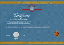 Certificado moderno oficial con la oblea Imagen de archivo libre de regalías