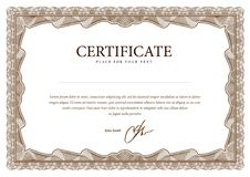 Certificado, moeda e diplomas do molde. Imagem de Stock
