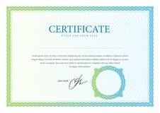 Certificado, moneda y diplomas de la plantilla. Imágenes de archivo libres de regalías