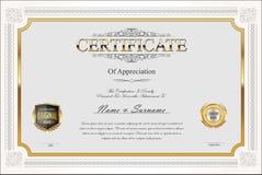 Certificado o diseño retro del vintage del diploma foto de archivo
