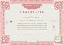 Certificado oficial cor-de-rosa Beira cor-de-rosa do guilloche no fundo bege ilustração do vetor