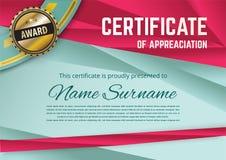 Certificado oficial de turquesa com triângulos vermelhos e a fita vermelha Para o negócio ou a educação Emblema do ouro ilustração royalty free