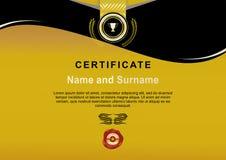 Certificado oficial do preto do ouro com fita do ouro e a bolacha vermelha ilustração stock