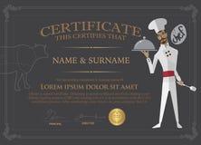 Certificado para el cocinero Design Template Gente que terminó el co Foto de archivo libre de regalías