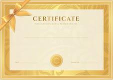 Certificado, plantilla del diploma. Modelo del premio del oro Foto de archivo