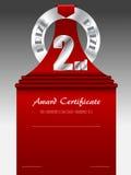 Certificado premiado de plata del premio del segundo lugar Imágenes de archivo libres de regalías