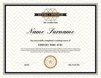 Certificado retro del marco de plantilla del aprecio Imagenes de archivo