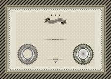 Certificado retro do molde com selos Fotos de Stock Royalty Free