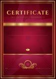 Certificado rojo oscuro, plantilla del diploma Imagen de archivo