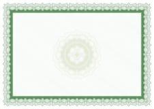 Certificado verde em branco Fotografia de Stock Royalty Free