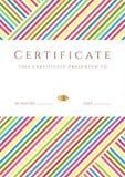 Plantilla rayada colorida de /diploma del certificado Foto de archivo libre de regalías