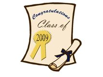 Certificado y diploma de la graduación Foto de archivo