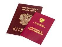 Certificado y pasaporte rusos de la pensión Imagenes de archivo