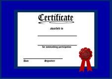 Certificat bleu blanc illustration stock