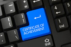 Certificat bleu de bouton d'accomplissement sur le clavier illustration 3D Image stock