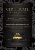 Certificat, calibre d'or de conception de diplôme, fond avec le modèle floral et en filigrane, frontière de rouleau, cadre d'or Image stock