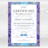 Certificat, calibre d'or de conception de diplôme, fond avec le modèle floral et en filigrane, frontière de rouleau, cadre d'or Photos stock