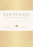 Certificat, calibre de diplôme. Modèle de récompense d'or Photographie stock