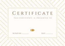 Certificat, calibre de diplôme. Modèle de récompense d'or Image libre de droits