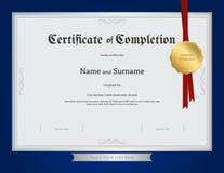 Certificat de calibre d'achèvement avec la frontière bleue Image libre de droits