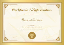 Certificat de calibre d'appréciation avec la frontière d'or Photographie stock