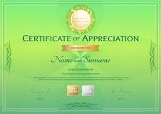 Certificat de calibre d'appréciation dans le thème vert d'environnement Photos stock
