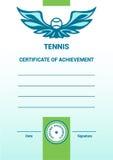 Certificat de calibre de vecteur, diplôme, tennis Photos stock