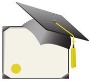 Certificat de capuchon et de diplôme de graduation de Mortarboard Photo stock