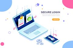 Certificat de coffre-fort de concept d'authentification d'identité illustration de vecteur
