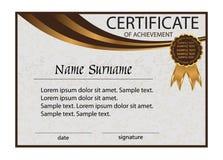 Certificat de l'accomplissement ou du diplôme Fond clair élégant Photos libres de droits