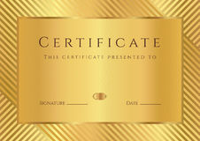 Calibre d'or de certificat/diplôme Image libre de droits
