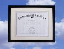 Certificat de l'excellence Photographie stock libre de droits