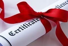 Certificat de l'excellence images stock