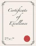 Certificat de l'excellence Photos libres de droits