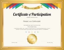 Certificat de participation le calibre avec la frontière d'or Photographie stock libre de droits