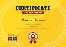 Certificat de participation le calibre dans le thème de jaune de sport Photo libre de droits