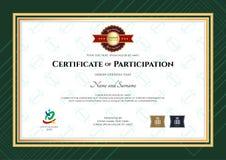 Certificat de participation le calibre dans le thème de sport avec le rugby Photos stock